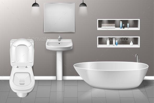 Bathroom Furniture Interior with Modern Bathroom - Objects Vectors