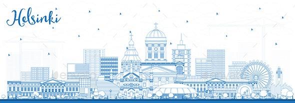 Outline Helsinki Finland City Skyline with Blue Buildings. - Buildings Objects