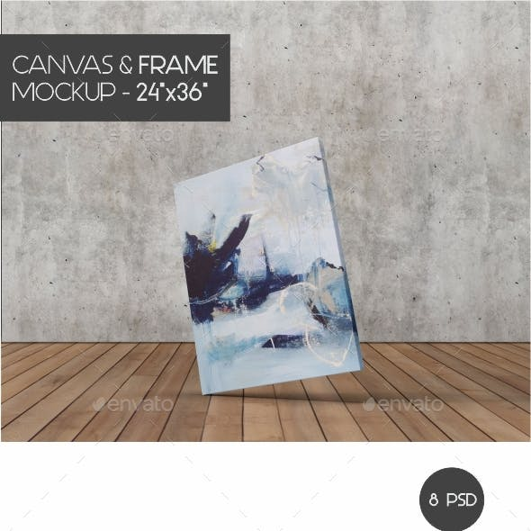 "Minimalist Canvas Frame Mock-Up 24""x36"""