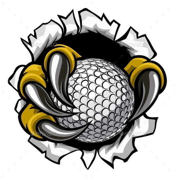 Golf Ball Eagle Claw Talons Ripping Background - Sports/Activity Conceptual