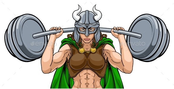 Viking Warrior Woman Weightlifter Lifting Barbell - People Characters