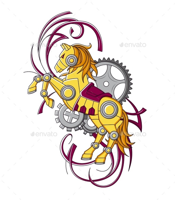 Horse in the Style of Mechanical Steampunk - Miscellaneous Vectors