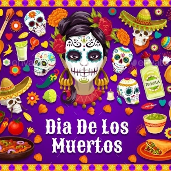 Dia De Los Muertos Mexican Skulls and Fiesta Food