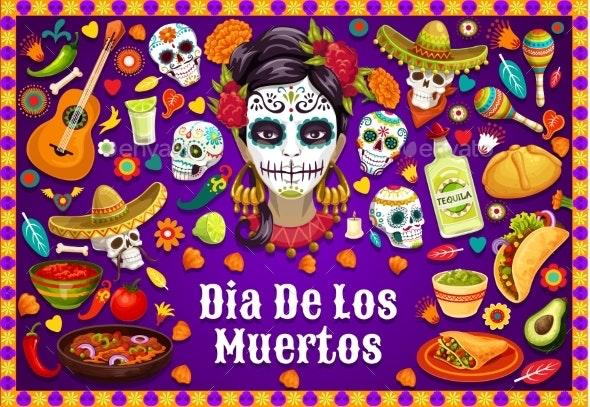 Dia De Los Muertos Mexican Skulls and Fiesta Food - Religion Conceptual