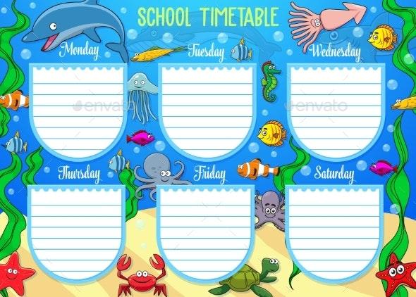 School Schedule on Whole Week, Underwater Animals - Objects Vectors