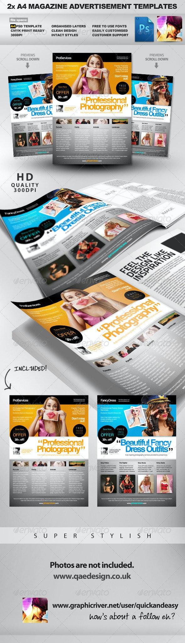 Pro Services - 2 A4 Magazine Ad Templates - Magazines Print Templates