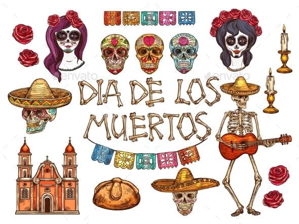 Dia De Muertos Mexican Day of Dead Sketch Symbols - Religion Conceptual