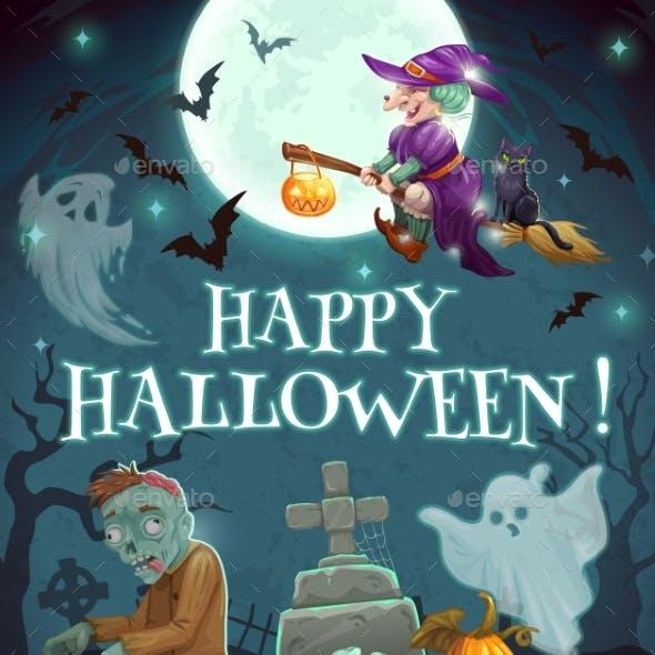Halloween Night, Graveyard. Zombie Ghosts, Pumpkin