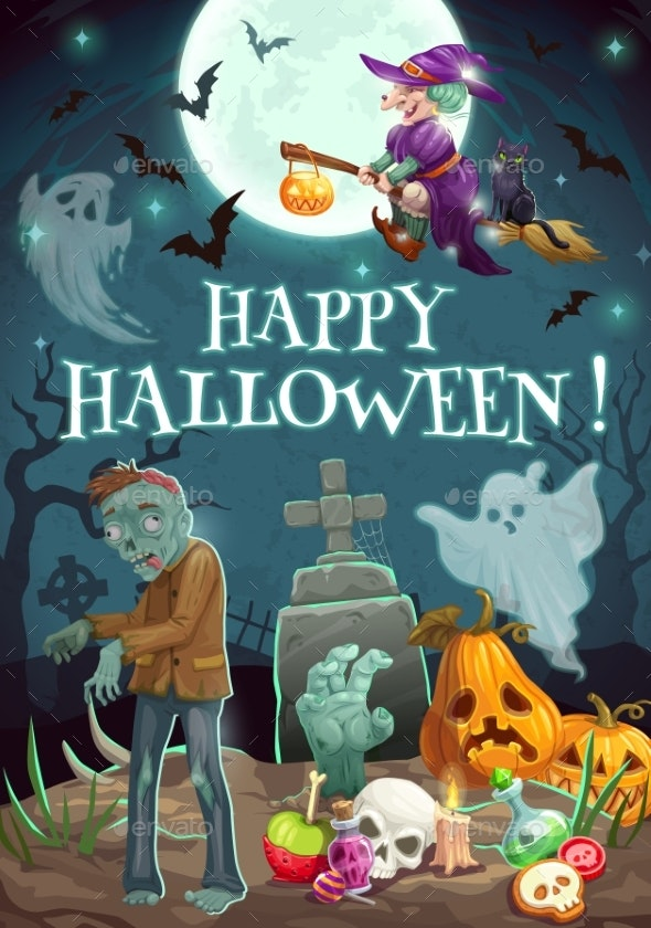 Halloween Night, Graveyard. Zombie Ghosts, Pumpkin - Halloween Seasons/Holidays