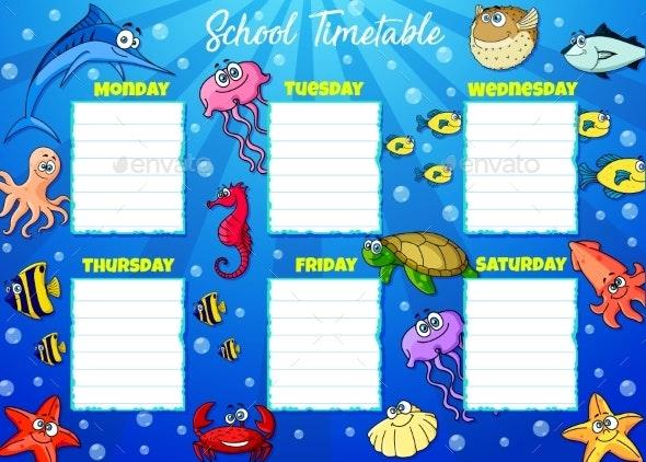 School Timetable Week Schedule, Cartoon Underwater - Objects Vectors