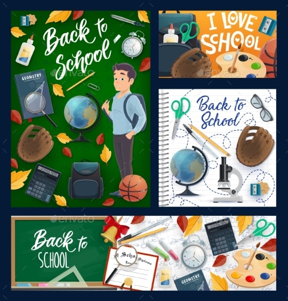 Back To School, Student and Education Items - Objects Vectors