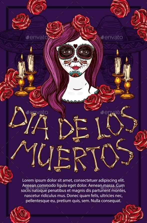 Dia De Muertos Mexican Holiday Calavera Skull Face - Religion Conceptual