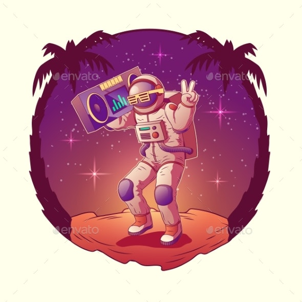 Astronaut or Spacemen Dancing on Moon Disco Party - Backgrounds Decorative