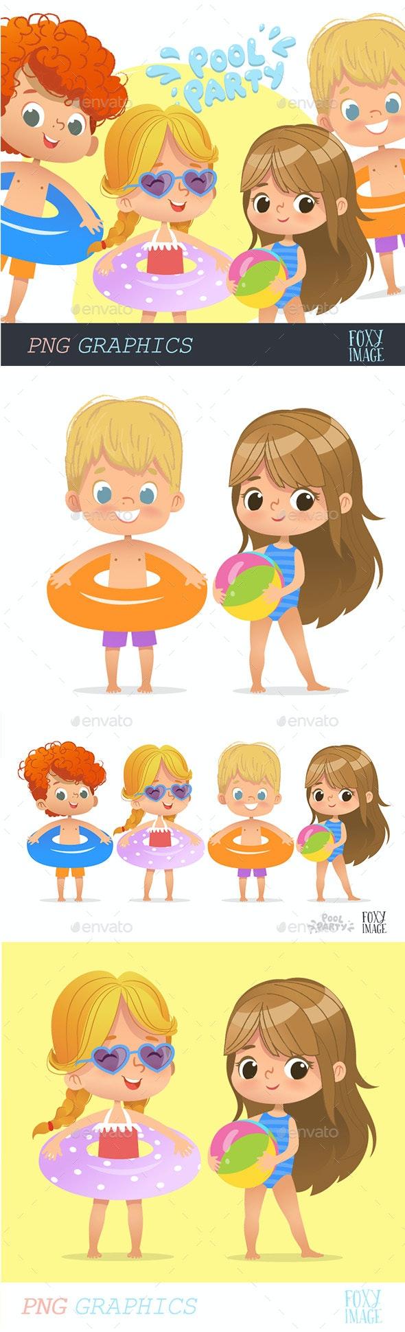 Pool Party Kids Set2 - People Illustrations