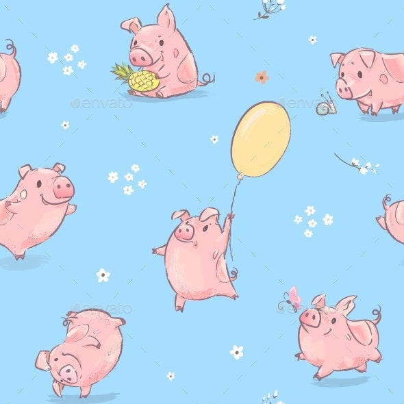 Pink Pig Seamless Pattern - Animals Characters