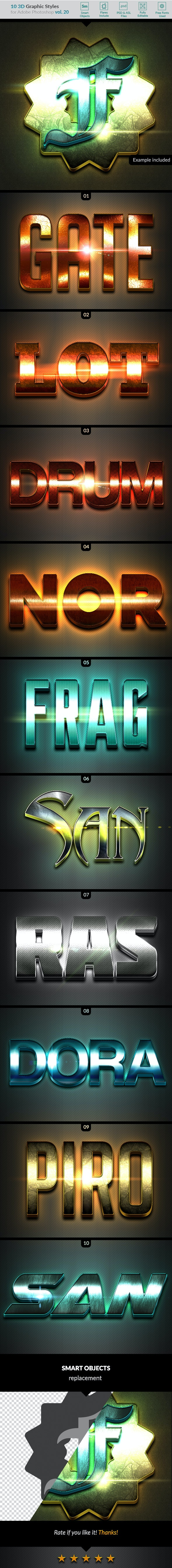 10 3D Styles vol. 20 - Text Effects Styles