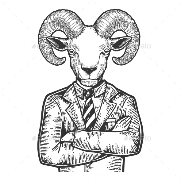 Ram Businessman Sketch Engraving Vector - Miscellaneous Characters