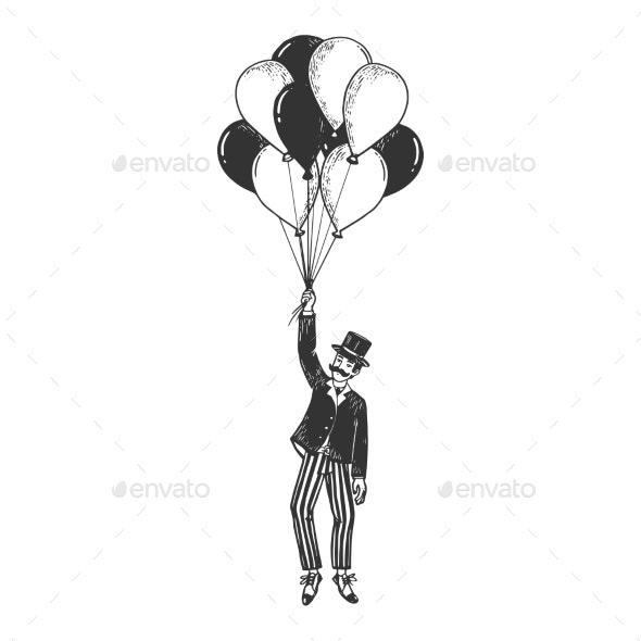 Gentleman Fly on Air Balloons Sketch Engraving - People Characters