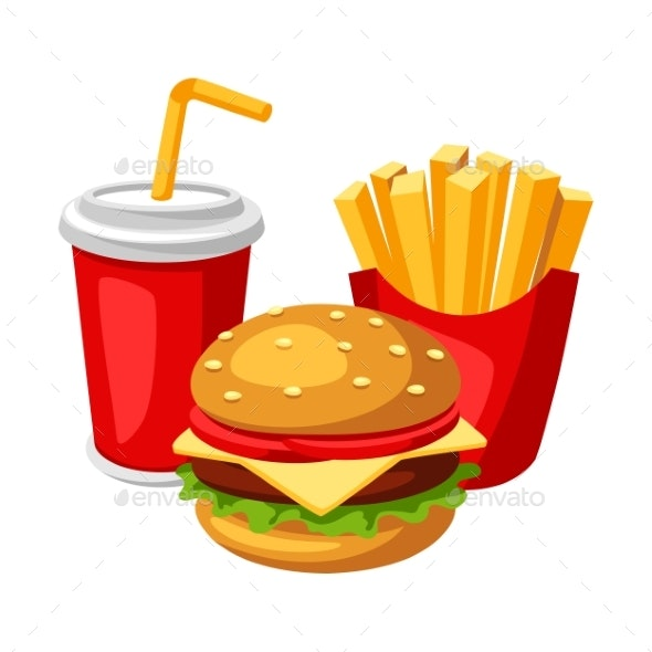 Illustration with Fast Food Meal - Food Objects