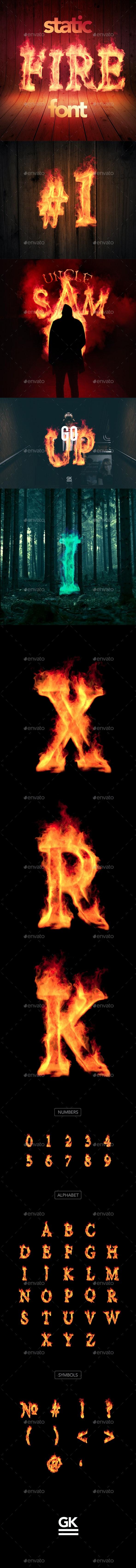 Fire Font / Alphabet -Static Version - Text 3D Renders