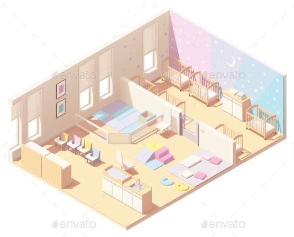 Vector Isometric Infant Daycare Classroom - Buildings Objects