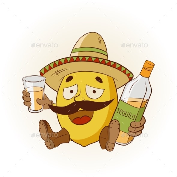 Cartoon Lemon Drinking Tequila - Miscellaneous Characters