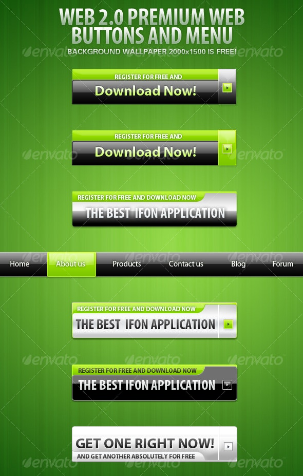 Premium Download Web 2.0 Buttons And Green menu - Web Elements