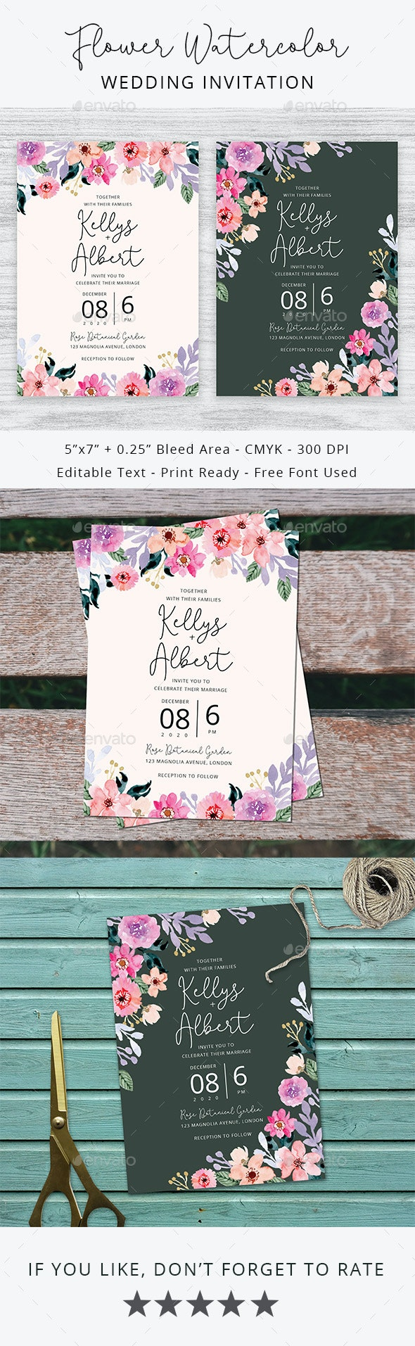 Flower Watercolor Wedding Invitation - Weddings Cards & Invites