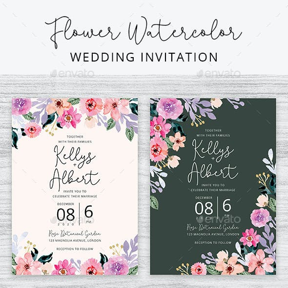 Flower Watercolor Wedding Invitation