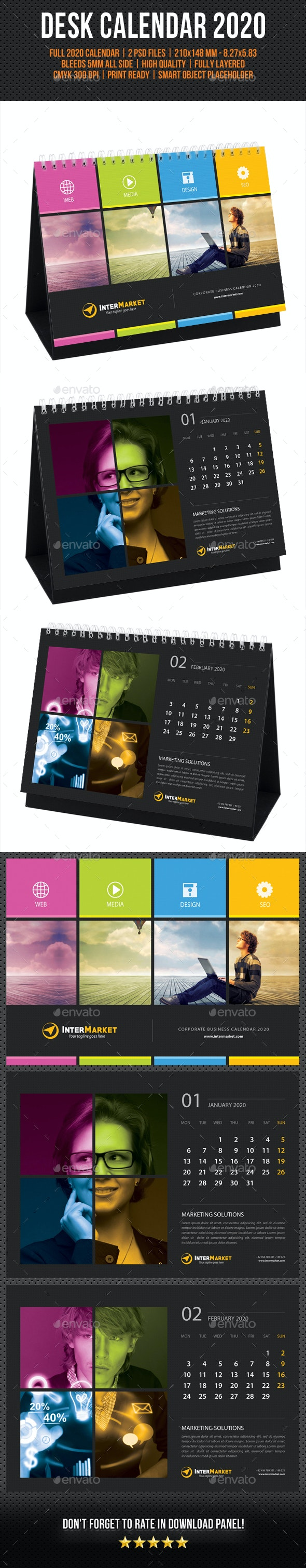 Corporate Desk Calendar 2020 V03 - Calendars Stationery
