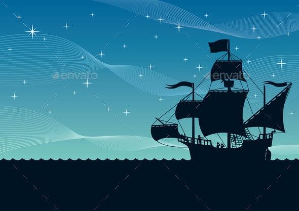 Ship Sailing Night - Travel Conceptual