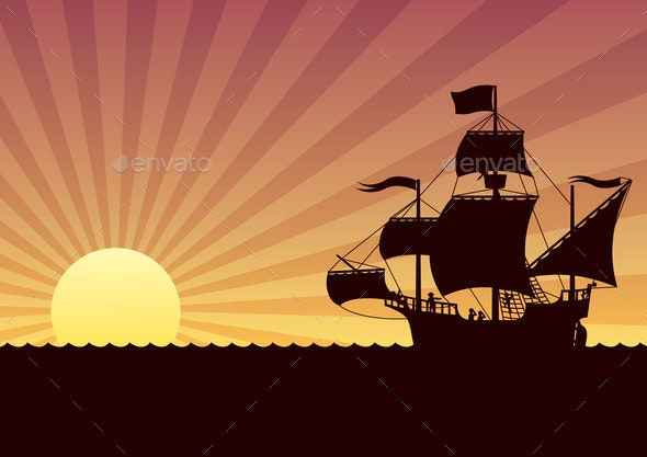 Ship Sailing Sunset - Travel Conceptual