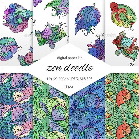 Zendoodle Digital Scrapbooking Paper Pack - Patterns Decorative