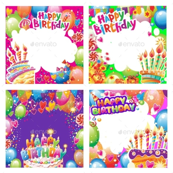 Set of Birthday Cards with Place for Text - Birthdays Seasons/Holidays