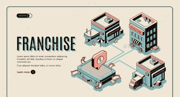 Franchise Web Banner on Retro Colored Background - Buildings Objects