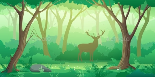 Forest Landscape Background with Trees and Deer - Landscapes Nature