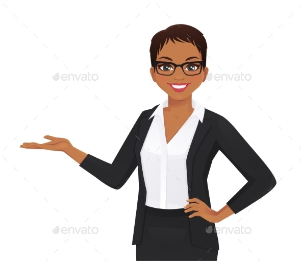 Elegant Business Woman Showing - Concepts Business