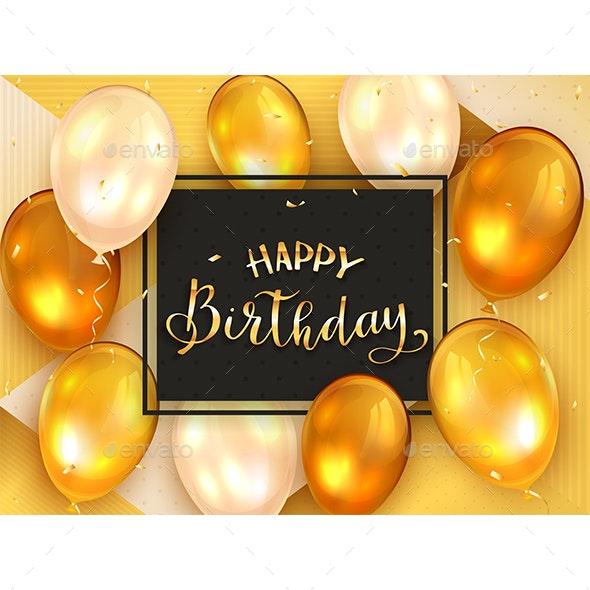Golden Lettering Happy Birthday - Birthdays Seasons/Holidays