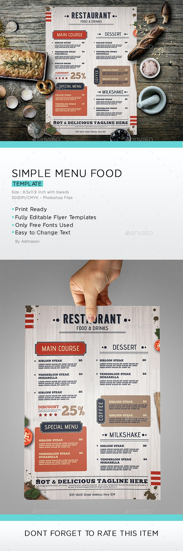 Simple food menu - Food Menus Print Templates
