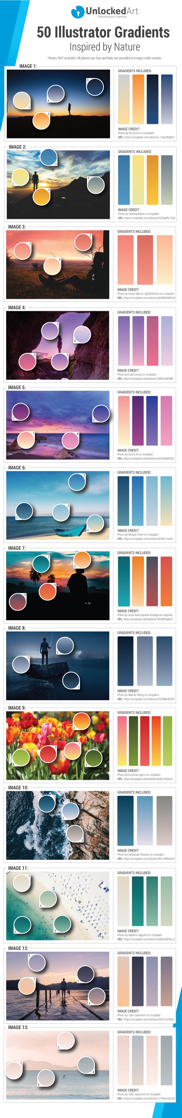 50 Illustrator Gradients Inspired by Nature - Miscellaneous Textures / Fills / Patterns
