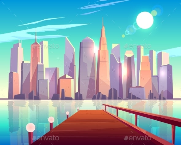 Megapolis City Architecture View From Wooden Pier - Buildings Objects