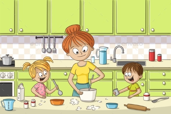 Mother and Children Cooking - People Characters