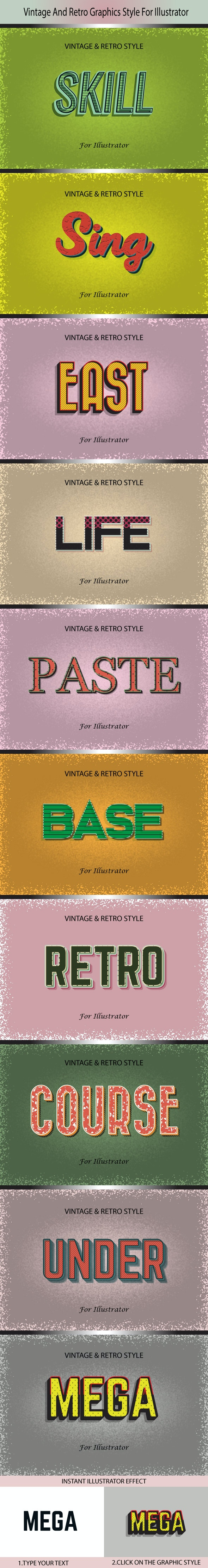Vintage And Retro Graphics Style For Illustrator - Photo Effects Actions