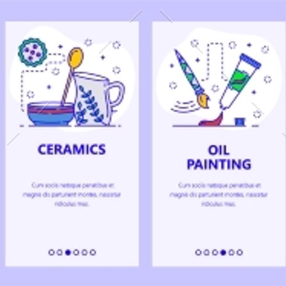 Mobile App Onboarding Screens Abstract Art