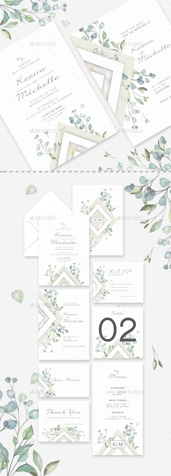 Botanical Wedding Invitation Suite - Weddings Cards & Invites