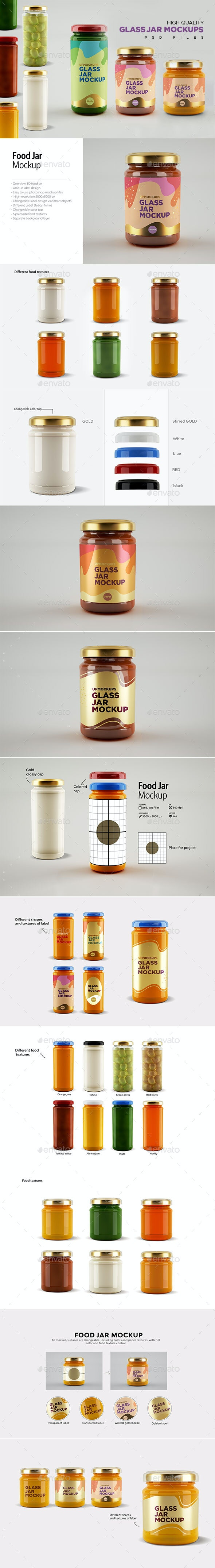 Glass Jars Mockups - Food and Drink Packaging