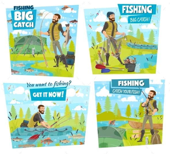 Fishing Adventure, Fisher Catch Lake or River Fish - Sports/Activity Conceptual