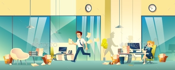 Stressed Entrepreneurs in Office Cartoon Vector - Business Conceptual
