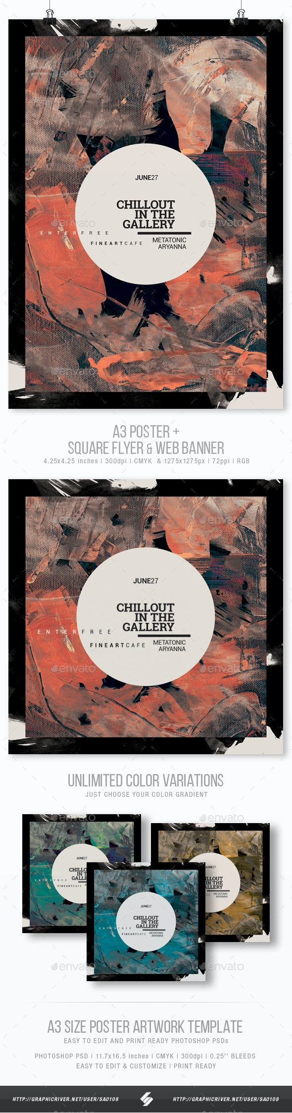 Chillout In The Gallery - Event Flyer / Poster Template A3 - Clubs & Parties Events