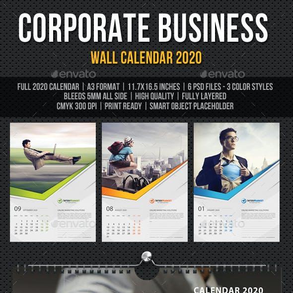 Corporate Business Wall Calendar 2020 V06